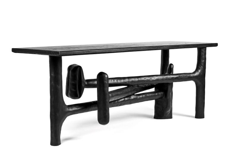 Organic Hand Carved Ebonized Ash Entry Table by Casey McCafferty For Sale 7