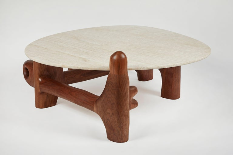 American Organic Hand Carved Walnut Coffee Table by Casey McCafferty For Sale