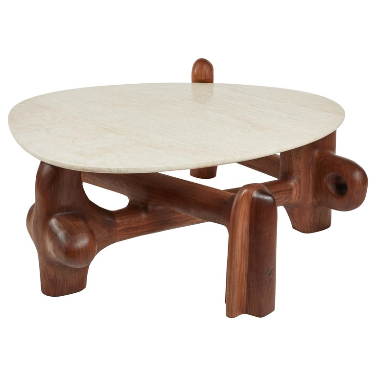 Organic Hand Carved Walnut Coffee Table by Casey McCafferty For Sale