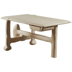 Organic Hand Carved White Washed Ash Desk by Casey McCafferty
