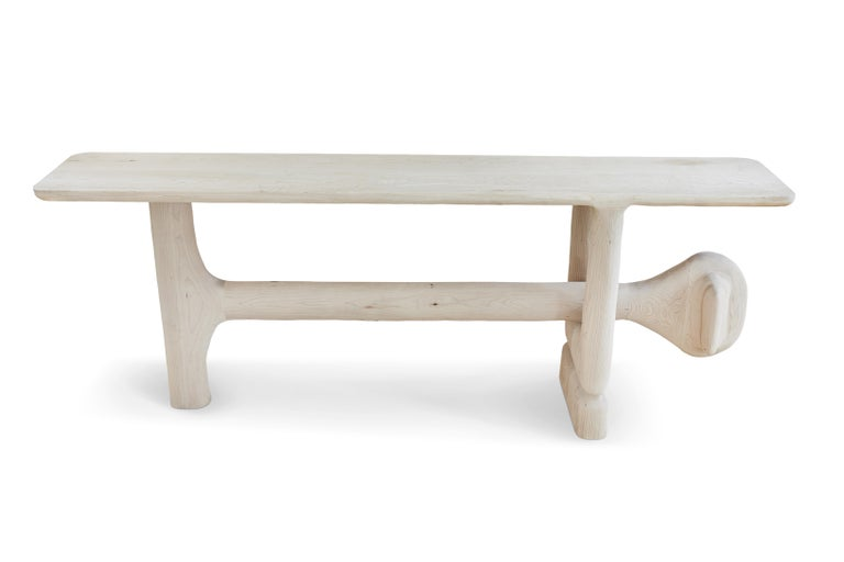 Organic hand carved sculptural entry table in bleached maple. Made in the USA by Casey McCafferty.   Sculpture 004  This piece is a one of a kind, one of one. Each piece follows the structural form but will have different organic