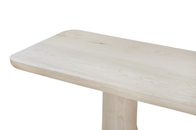 American Organic Hand Carved White Washed Maple Entry Table by Casey McCafferty For Sale
