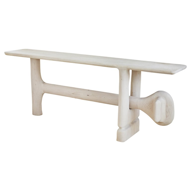 Organic Hand Carved White Washed Maple Entry Table by Casey McCafferty For Sale