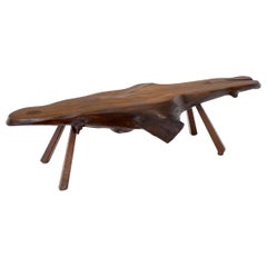 Organic Heavy Solid Walnut Varnished Slab Top Coffee Table on Tapered Legs