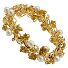 Organic Inspired Natural Pearl, Diamond and 14 Karat Vine Bracelet