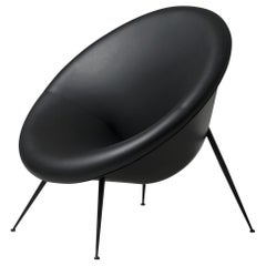 Organic Italian Design Black Metal and Black Leather Armchair