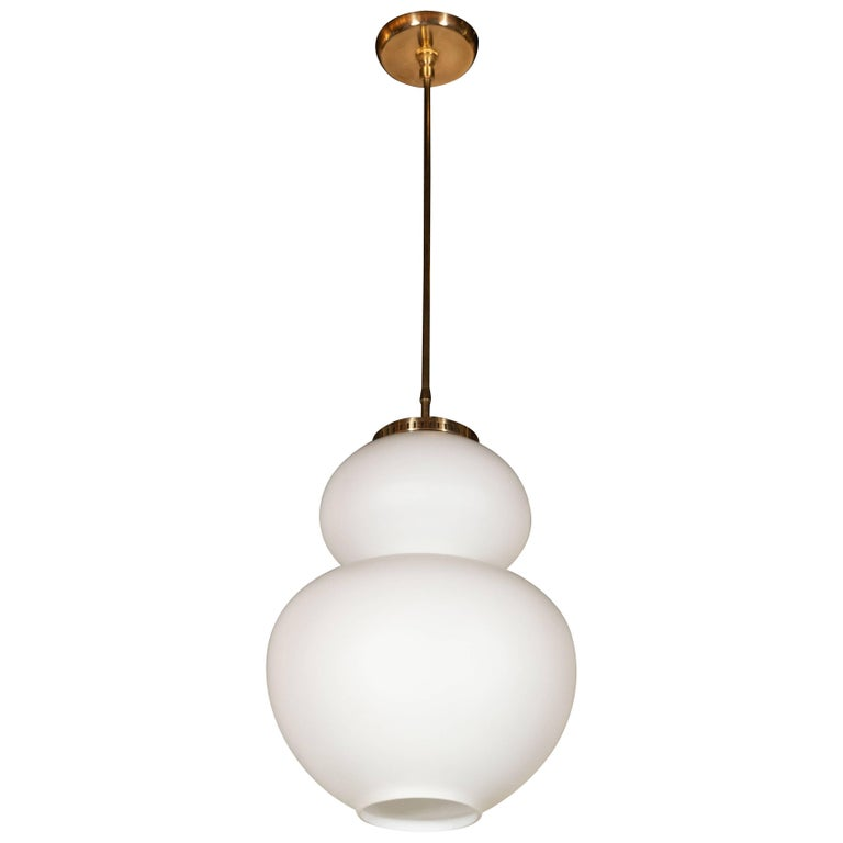 Organic Italian Mid-Century Modern Curvilinear Brass and Frosted Glass Pendant For Sale