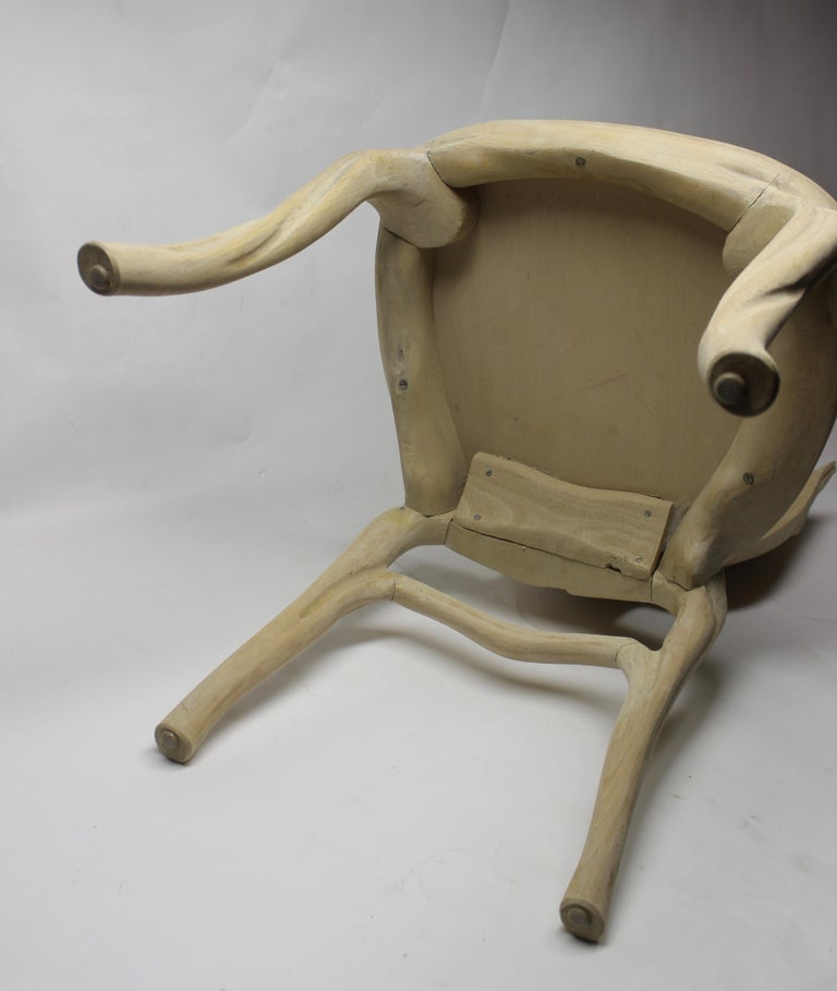 Organic leaf shape hand carved raw wood chair by Bartolozzi Maioli.