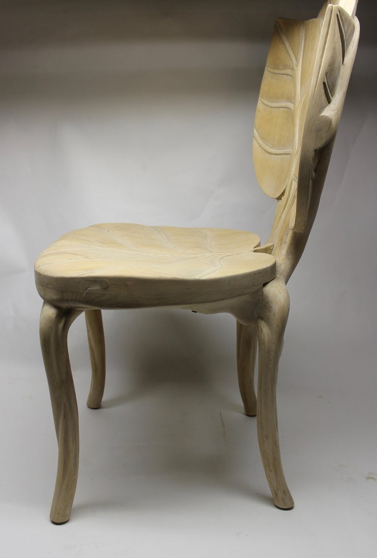 Hand-Carved Organic Leaf Shape Wood Chair by Bartolozzi and Maioli For Sale