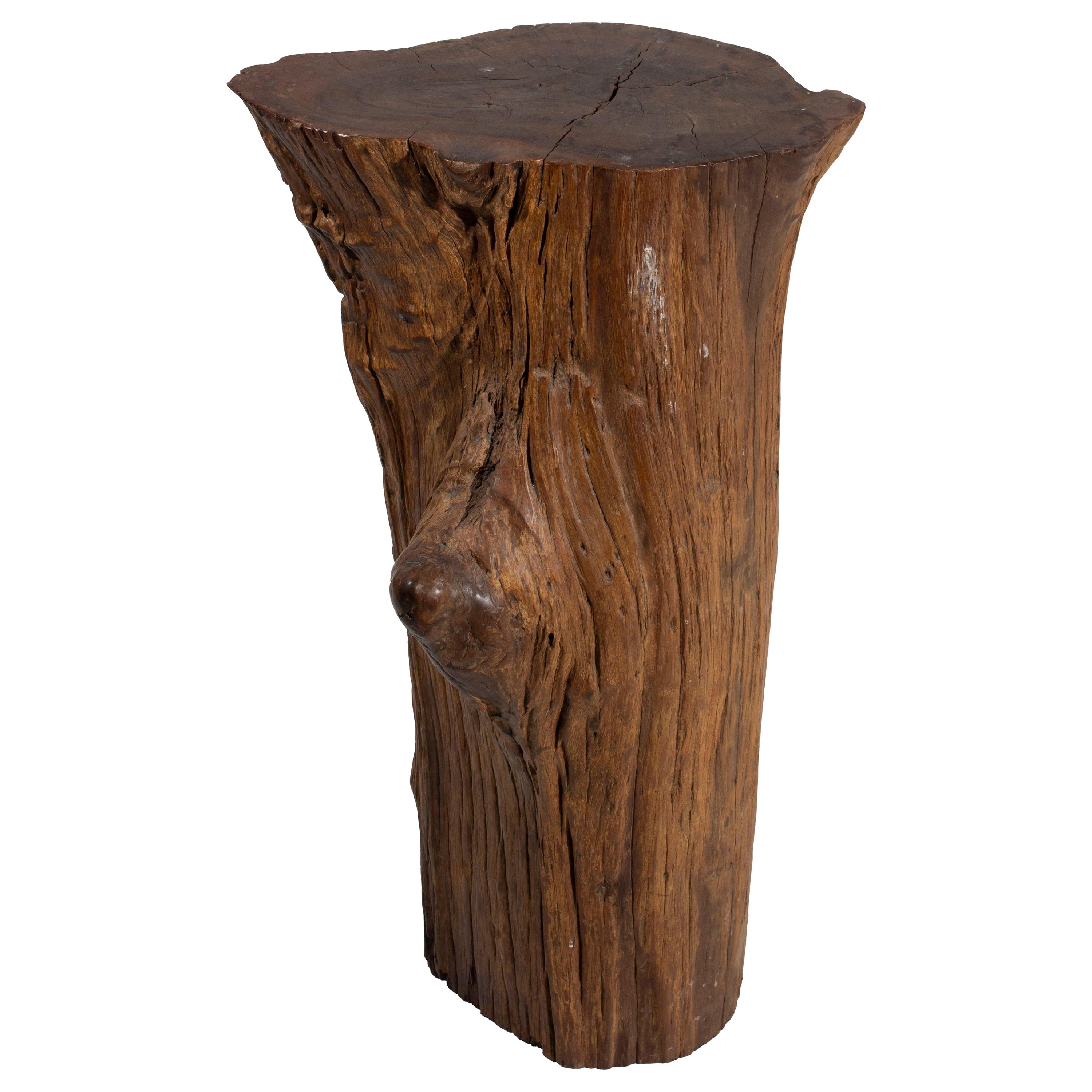 Organic Lychee Wood Stump Side Table