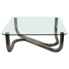 Organic Mid-Century Modern Chrome and Glass Coffee Table, 1970s