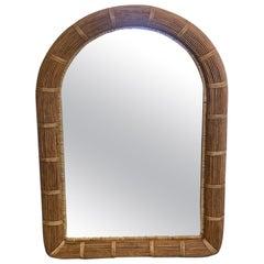 Organic Mid-Century Modern Rattan Wicker Arched Mirror