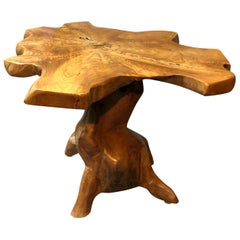 Organic Mid-Century Modern Root Wood Side Table