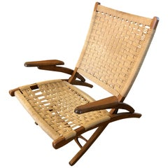 Organic Mid-Century Modern Woven Rope and Teak Folding Armchair