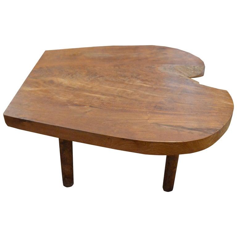 Organic Midcentury Style Teak Wood Coffee Table For Sale