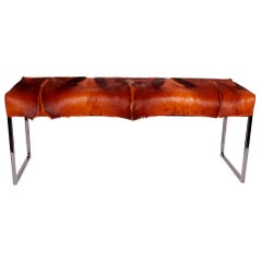 Organic Modern African Springbok Fur Bench in Burnt-Orange