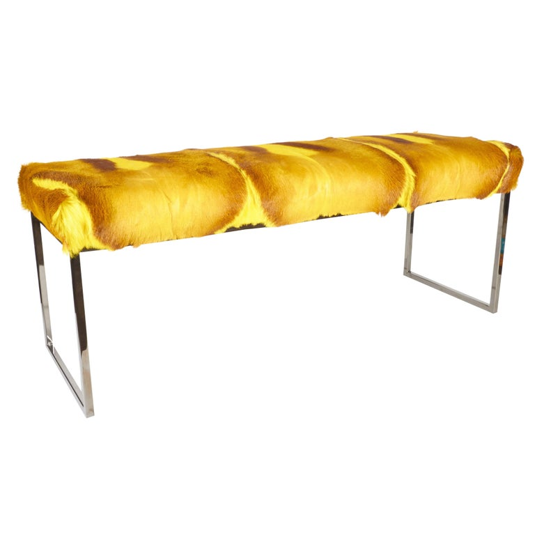 Exotic African springbok bench in hues of vibrant yellow. Mid-Century Modern design with streamline base in black chrome. Hand-dyed and comprised of several hides featuring multiple spine details. Excellent accent piece for any room.