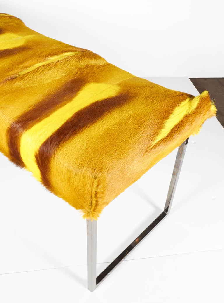 Dyed Organic Modern African Springbok Fur Bench in Vibrant Yellow For Sale