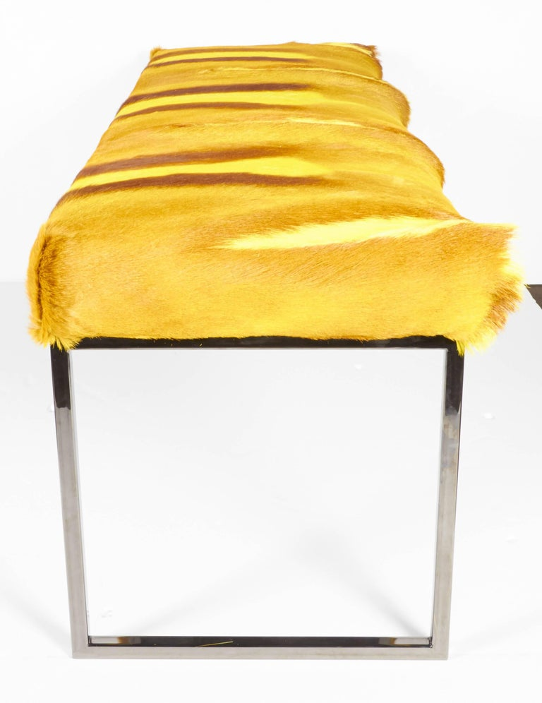 Organic Modern African Springbok Fur Bench in Vibrant Yellow In Excellent Condition For Sale In Miami, FL