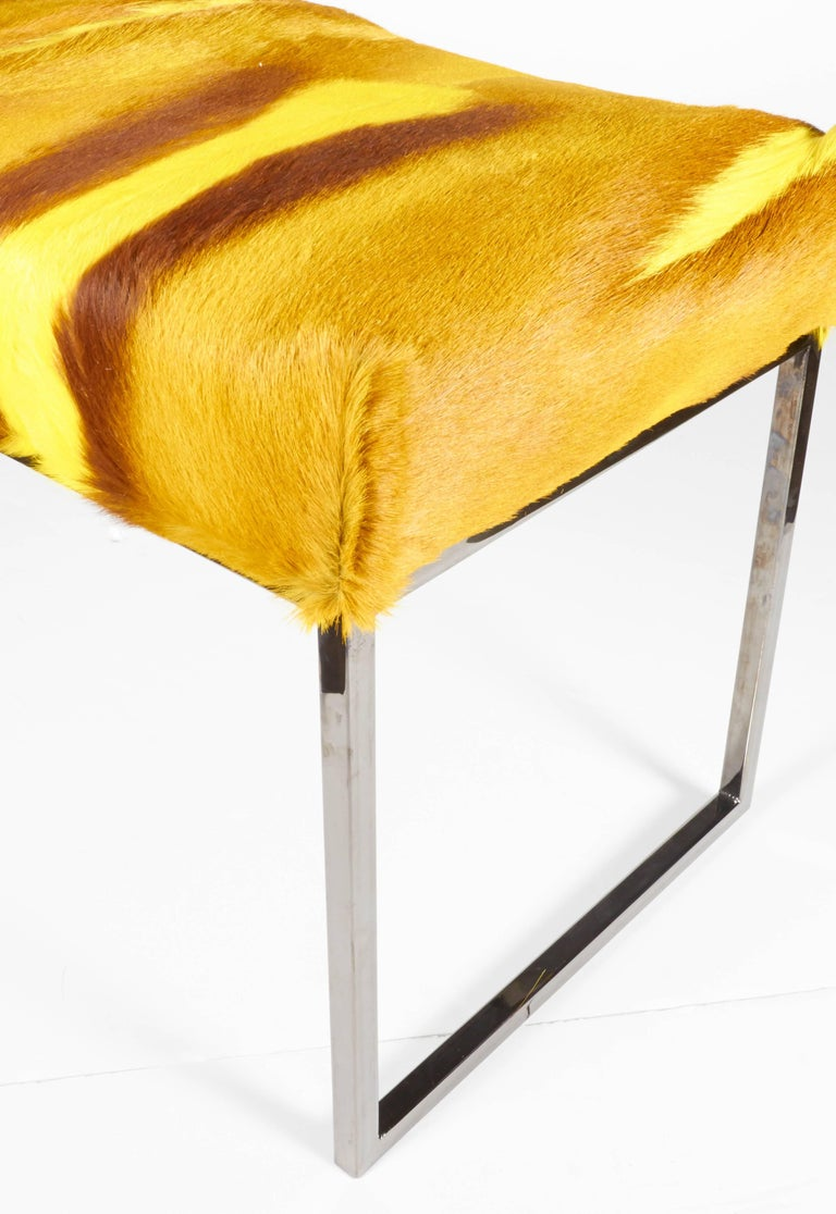 Contemporary Organic Modern African Springbok Fur Bench in Vibrant Yellow For Sale