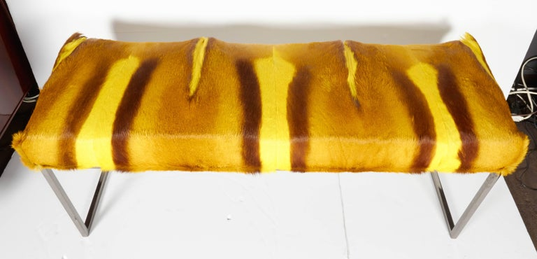 Hide Organic Modern African Springbok Fur Bench in Vibrant Yellow For Sale