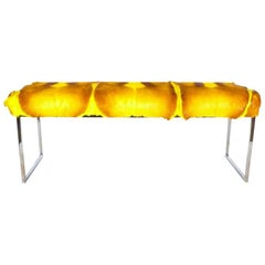 Organic Modern African Springbok Fur Bench in Vibrant Yellow
