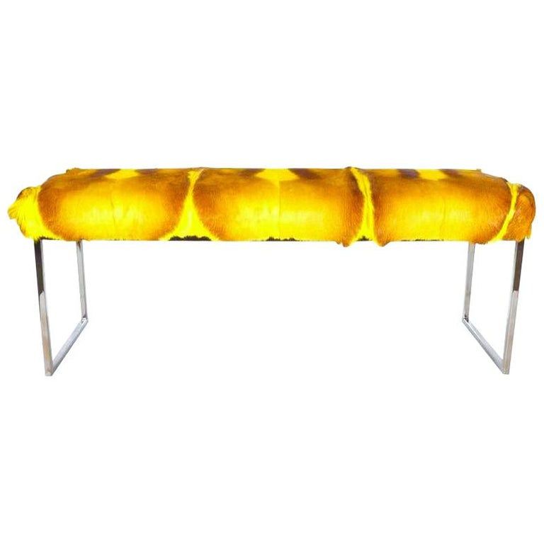 Organic Modern African Springbok Fur Bench in Vibrant Yellow For Sale