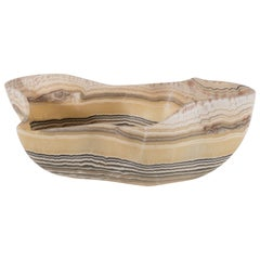 Organic Modern Agate Bowl with Grisaille Bands against a Honeyed Background