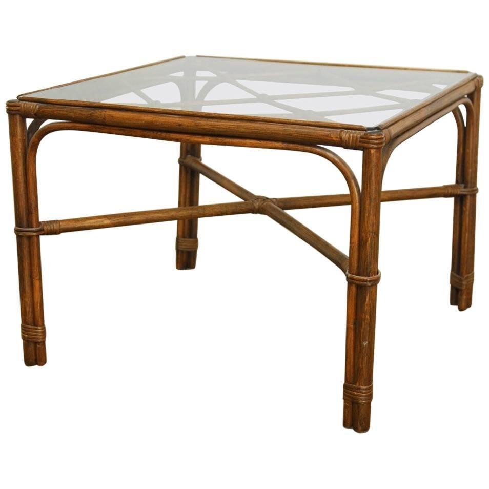 Organic Modern Bamboo Rattan Coffee Table By Brown Jordan