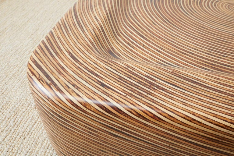 Organic Modern Bamboo Rattan Strip Inlay Cocktail Table For Sale 5