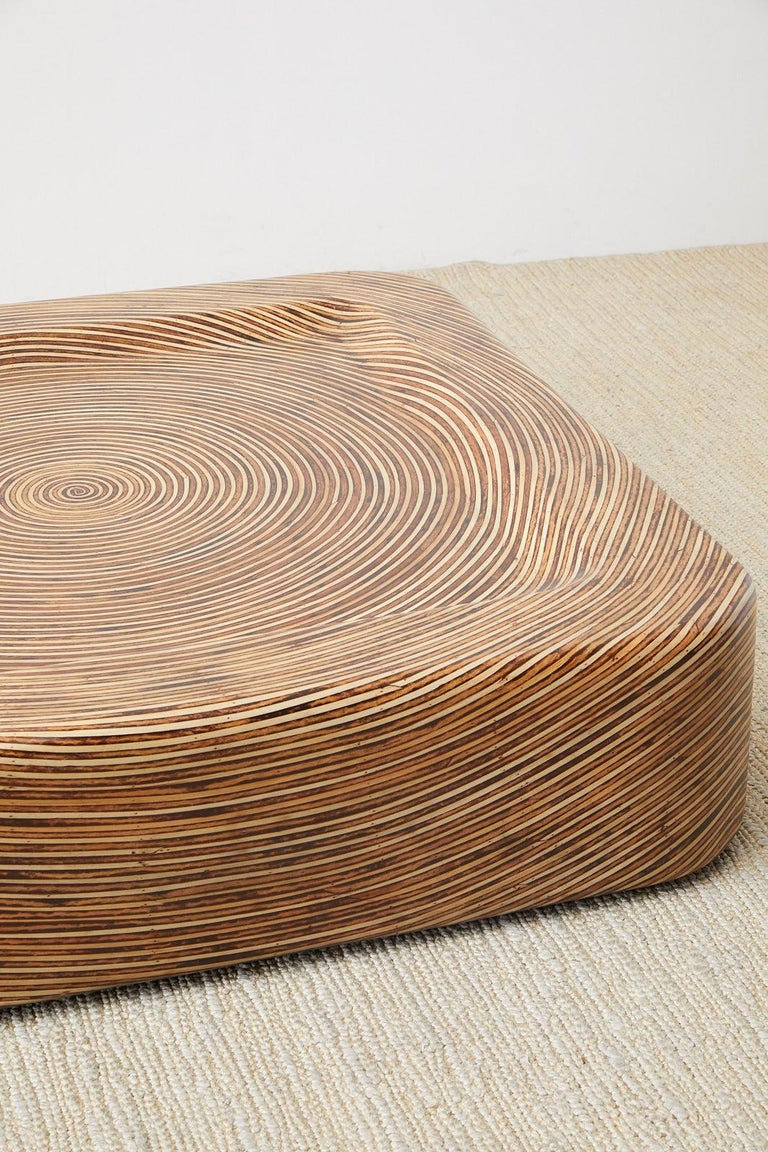 Organic Modern Bamboo Rattan Strip Inlay Cocktail Table For Sale 6