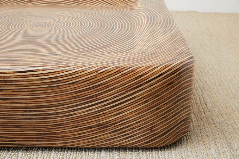 Organic Modern Bamboo Rattan Strip Inlay Cocktail Table For Sale 7
