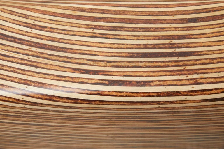 Organic Modern Bamboo Rattan Strip Inlay Cocktail Table For Sale 9