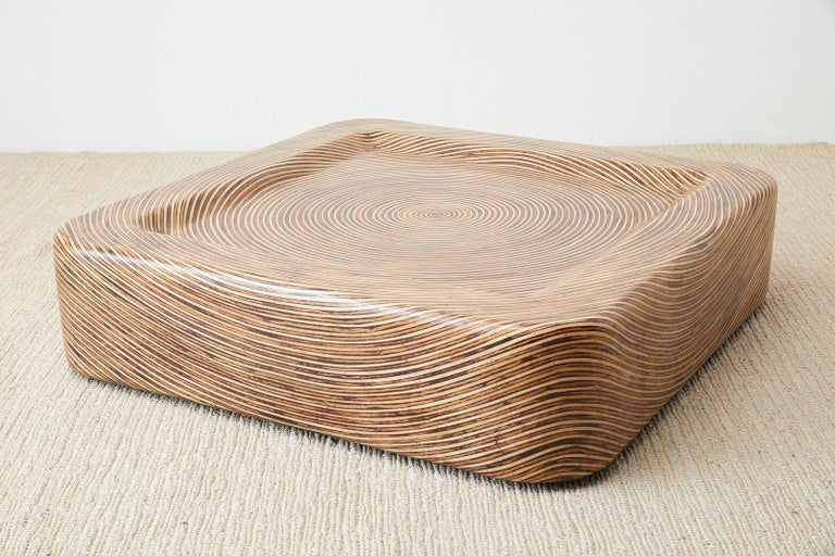Asian Organic Modern Bamboo Rattan Strip Inlay Cocktail Table For Sale