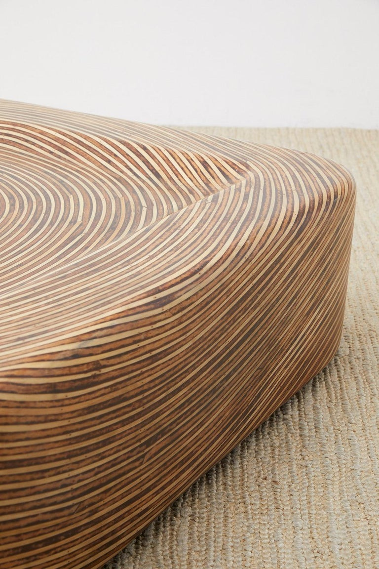 Hand-Crafted Organic Modern Bamboo Rattan Strip Inlay Cocktail Table For Sale