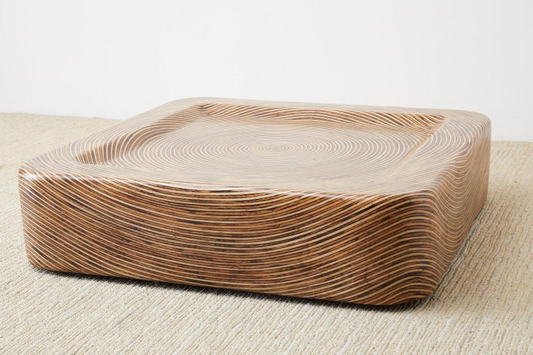 Contemporary Organic Modern Bamboo Rattan Strip Inlay Cocktail Table For Sale