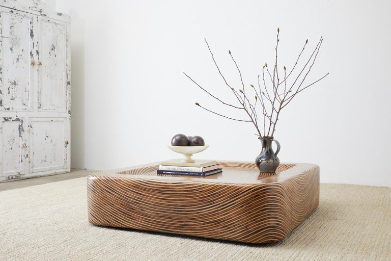 Organic Modern Bamboo Rattan Strip Inlay Cocktail Table For Sale 1