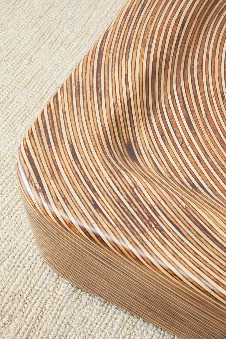 Organic Modern Bamboo Rattan Strip Inlay Cocktail Table For Sale 2