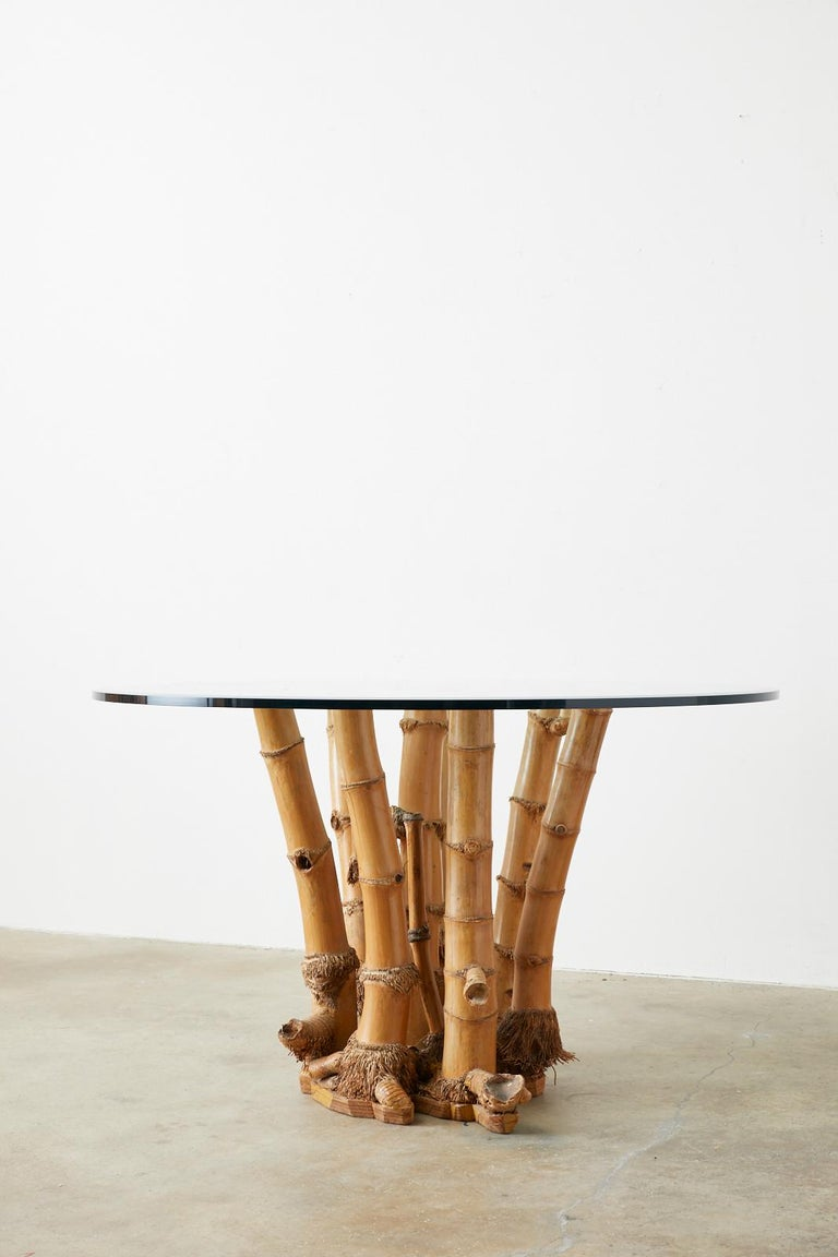Organic Modern Bamboo Root Glass Top Dining Table For Sale 6