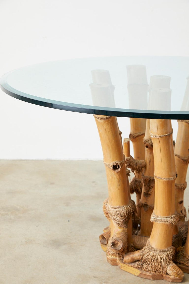 Organic Modern Bamboo Root Glass Top Dining Table For Sale 7