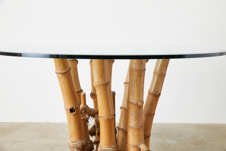 Organic Modern Bamboo Root Glass Top Dining Table In Good Condition For Sale In Oakland, CA