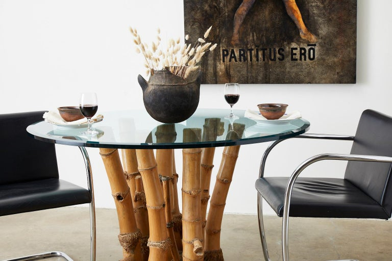 Organic Modern Bamboo Root Glass Top Dining Table For Sale 1