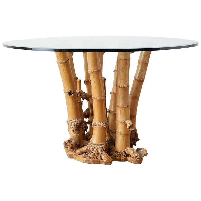 Organic Modern Bamboo Root Glass Top Dining Table For Sale