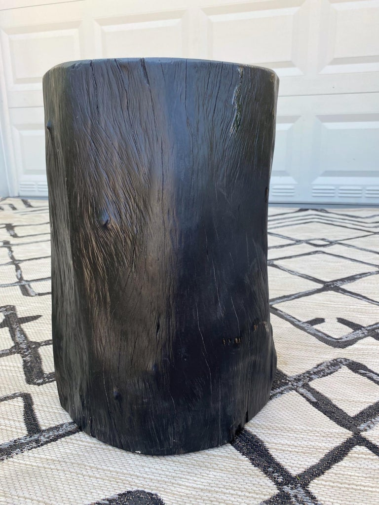Organic Modern Blackened Teak Wood Stump and Side Table, Indonesia For Sale 5