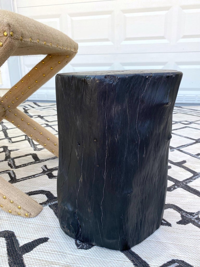 Organic Modern Blackened Teak Wood Stump and Side Table, Indonesia In Excellent Condition For Sale In Fort Lauderdale, FL