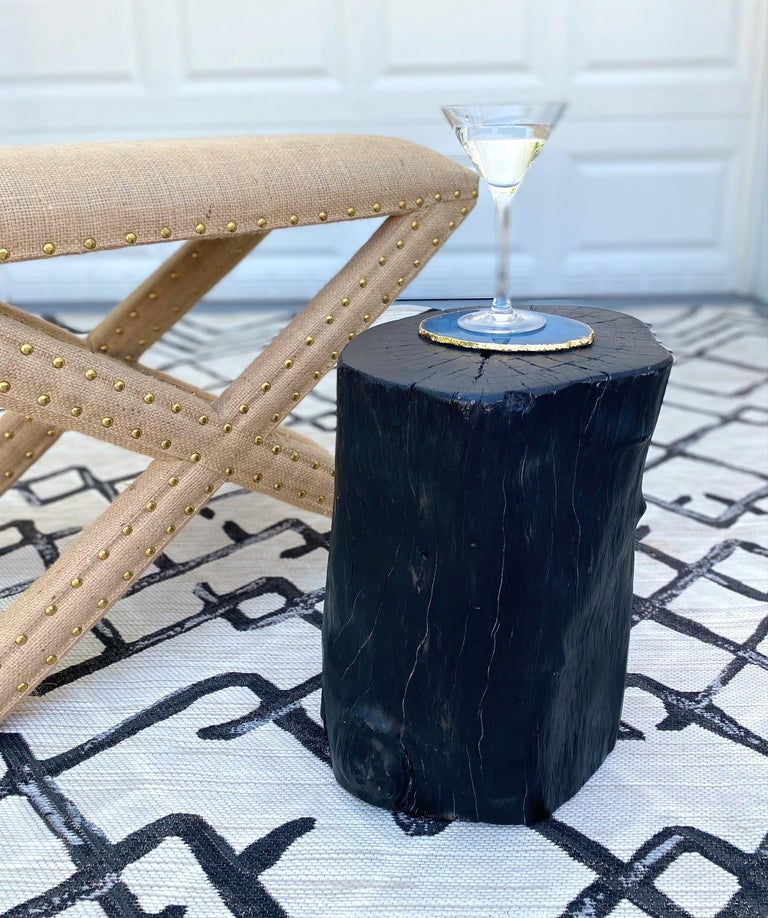 Contemporary Organic Modern Blackened Teak Wood Stump and Side Table, Indonesia For Sale