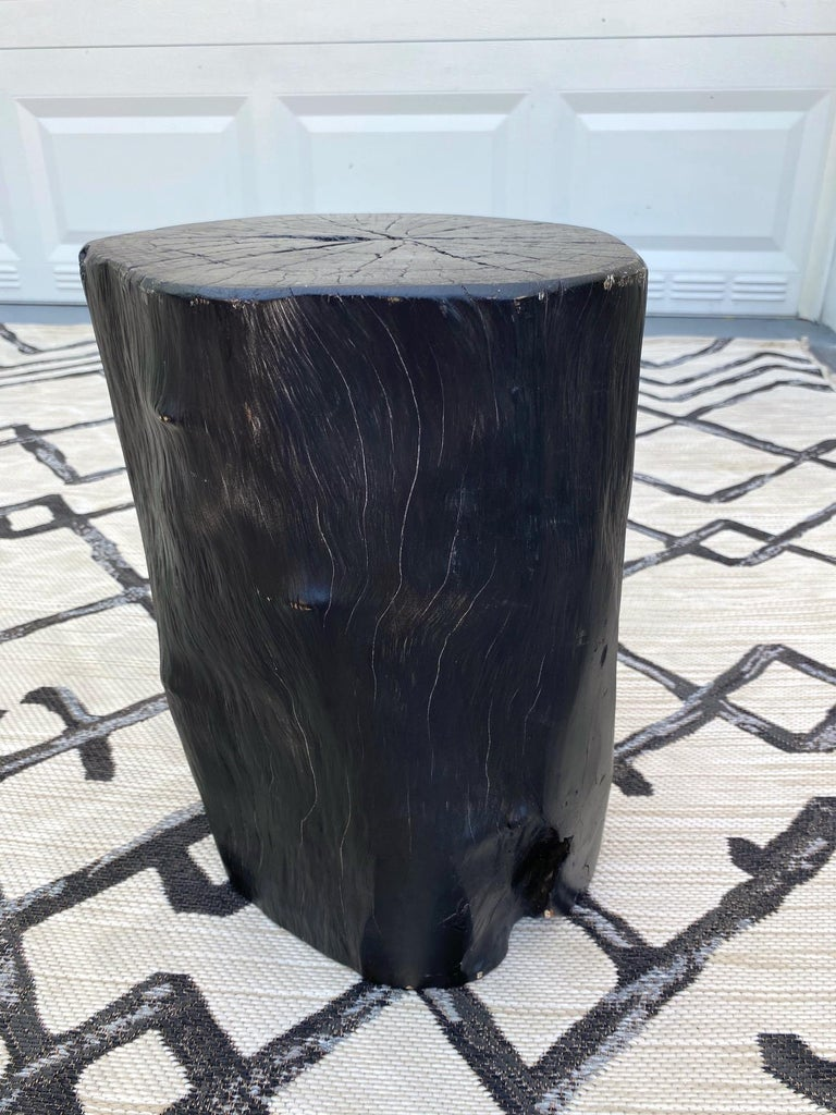 Organic Modern Blackened Teak Wood Stump and Side Table, Indonesia For Sale 2
