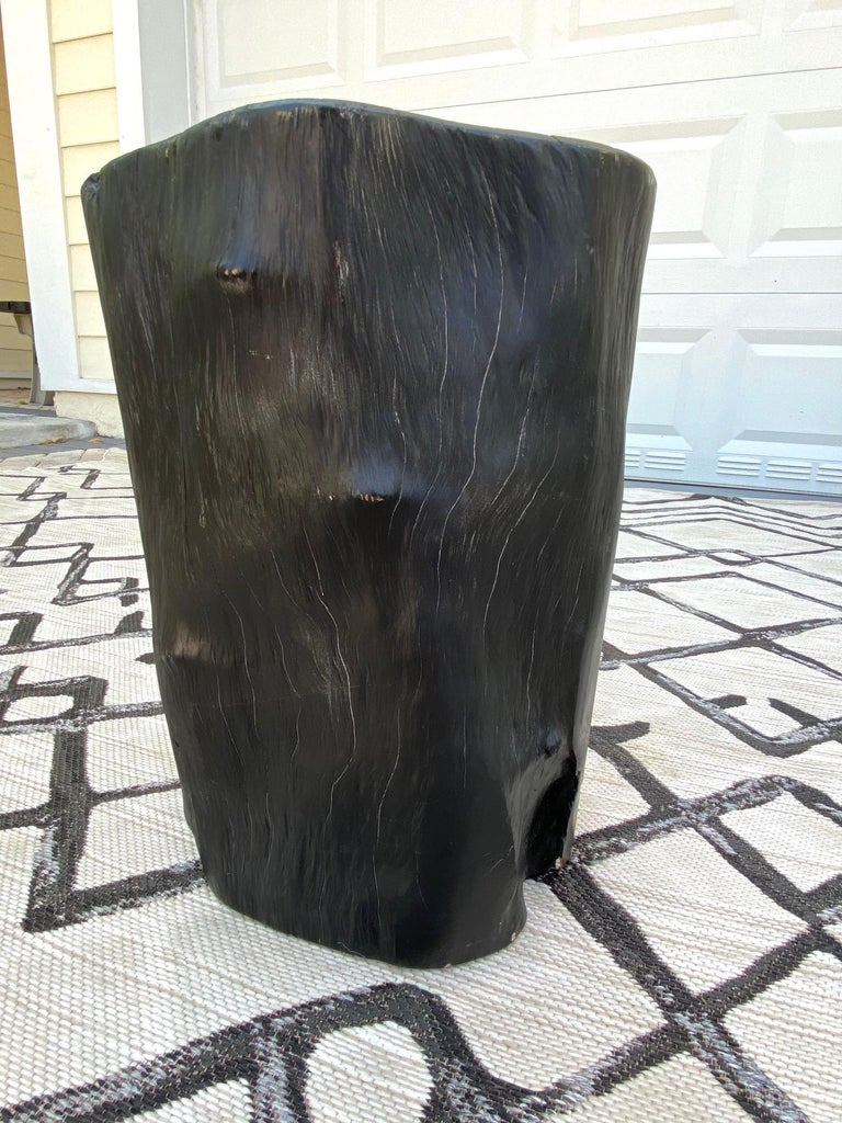 Organic Modern Blackened Teak Wood Stump and Side Table, Indonesia For Sale 3