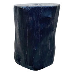 Organic Modern Blackened Teak Wood Stump and Side Table, Indonesia