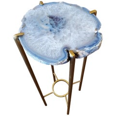 Organic Modern Blue Gray White Geode Drink Table with Gold Gilt Base